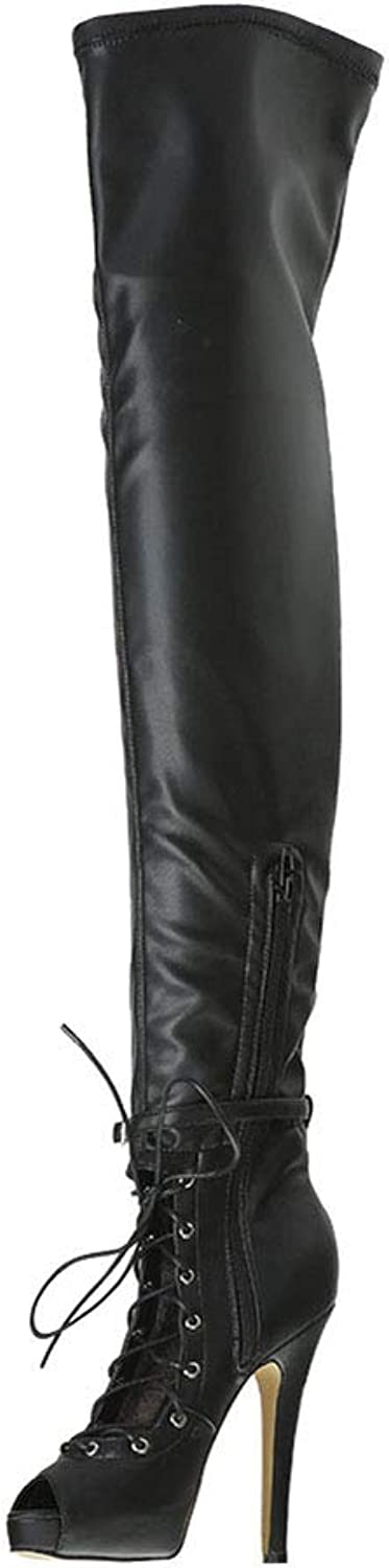 Women's Boots, Extreme High Heel Platform Women Fish Mouth Over Knee Boots Thigh High Sexy Fetish Dance Nightclub Party shoes (color   Black, Size   46)