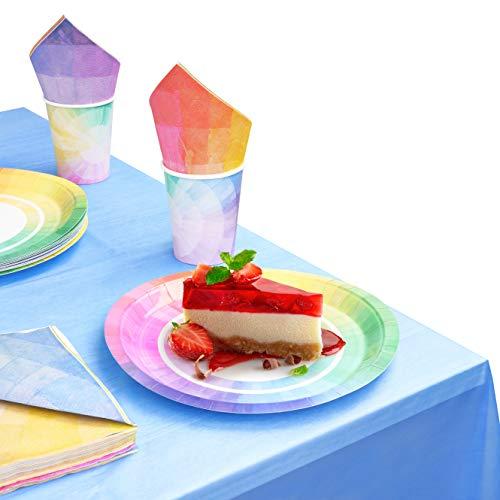 MATANA 61-Pezzi Set di Stoviglie Arcobaleno per Feste di Compleanno per Bambini