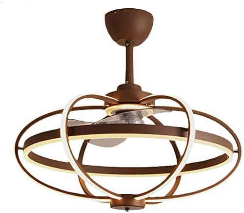 Luminarias, 212, Ventiladores de techo con lámparas Modernismo Jaula Oval Techo Ventilador Luz Acrílico Sala de estar 25.5'W LED semi lámpara de montaje en café con 7 hojas de plata, Fixturesss