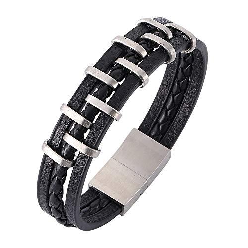 Armband leer titanium staal punk mannen en vrouwen handgemaakte mode geweven rok trend geschenk creatief unieke retro pop zwart 18.5cm