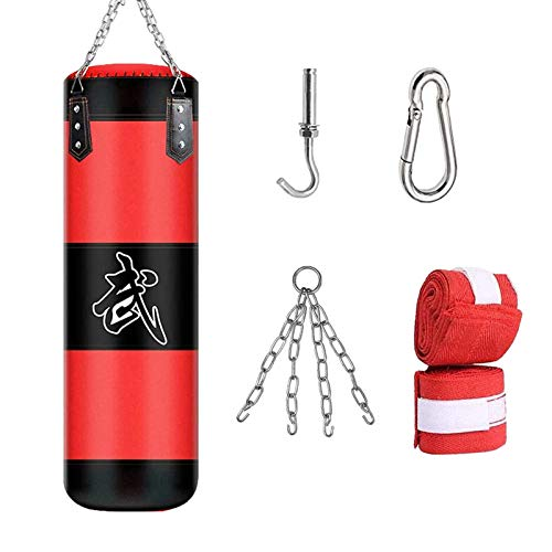 KEEPAA Saco de Boxeo,Saco de Boxeo Pesado con Cadena de Acero - Bolsa De Entrenamiento Vacío De Boxeo Karate Bolsa De Arena (Sin Relleno),para Boxeo Entrenamiento de Boxeo Fitness