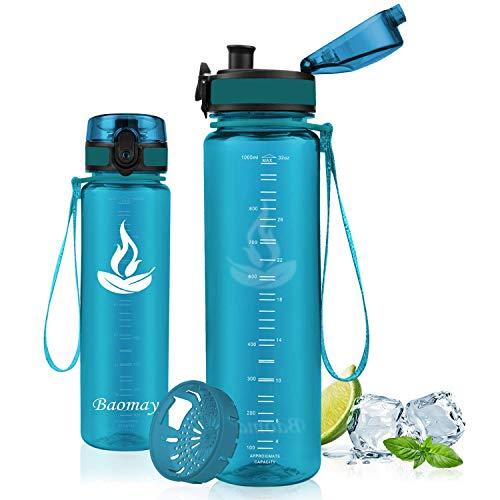 Baomay Trinkflasche Sport, BPA-Frei Auslaufsichere Wasserflasche aus Tritan, 350ml/500ml/750ml/1l Sportflasche mit Sieb Für Fahrrad, Kinder, Schule, Outdoor, Fitness, Gym - Leicht Wasser Flasche