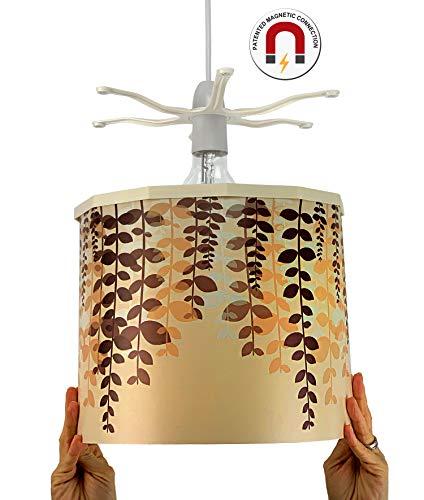 Ereki hanglampenkap ABS hitte- en vlambestendig bruin crème oranje