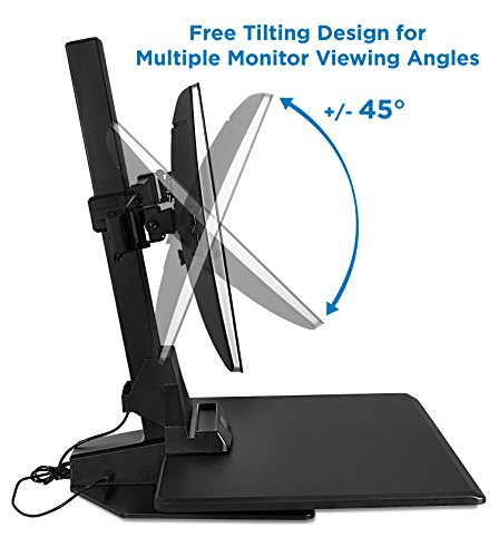 MI-7952 Electric Standing Desk Converter Ergonomic Height Adjustable Workstation Black Mount-It Motorized Sit Stand Desk with Dual Monitor Mount and iPhone//Tablet Slot