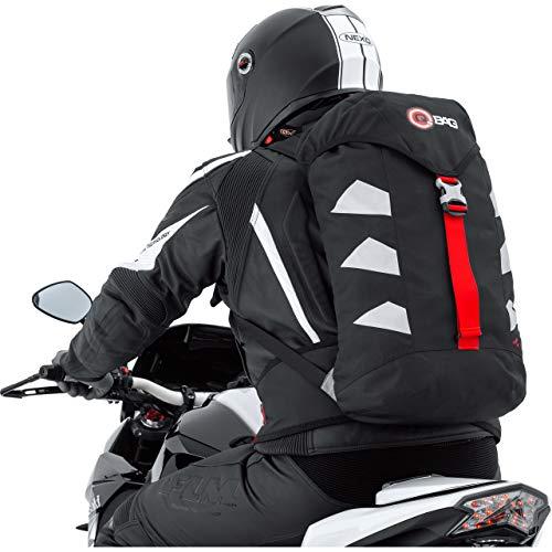 QBag Motorrad Rucksack Herren und Damen Fahrradrucksack wasserdicht, 25 Liter Stauraum, sehr leicht, reflektierende Seitenstreifen, Ausgang für Trinksystem, gepolstertes Rückenteil, Schwarz/Silber