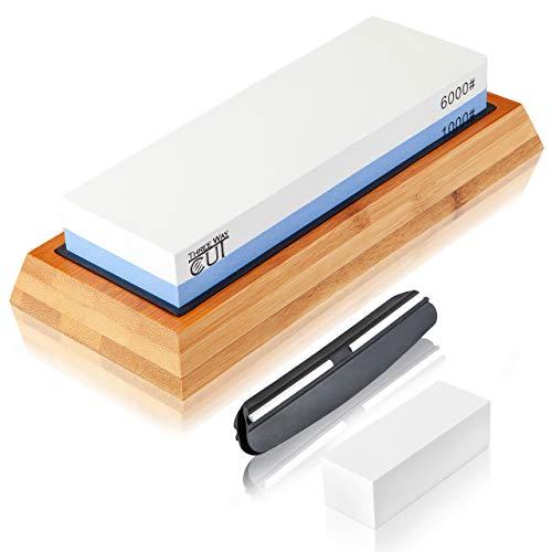 Knife Sharpening Stone Kit - 2 Side Whetstone Set 1000/6000 Grit Sharpening and Honing Waterstone Best Wet Sharpener for Chefs and Kitchen Knife Anti-slip Base Angle Guide & Flattening Stone