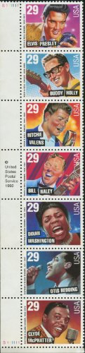 ROCK & ROLL and RHYTHM & BLUES ~ ELVIS PRESLEY ~ BUDDY HOLLY ~ RITCHIE VALENS ~ BILL HALEY ~ DINAH WASHINGTON ~ OTIS REDDING ~ CLYDE MCPHATTER #2730a Strip of 7 x 29¢ US Postage Stamps