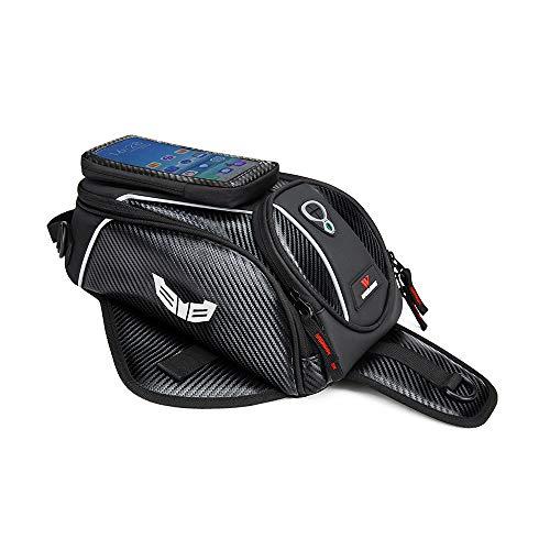 WOSAWE Motorcycle Tank Bag PU Leather Motorbike Accessories Bag with Phone Pocket Waterproof Magnetic Luggage