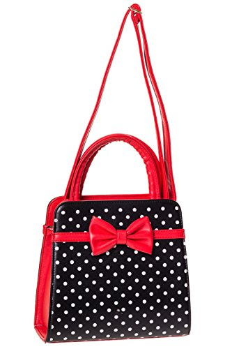 Banned Apparel VINTAGE 50s ROCKABILLY CARLA de lunares Bolso - Rojo, One Size, One Size