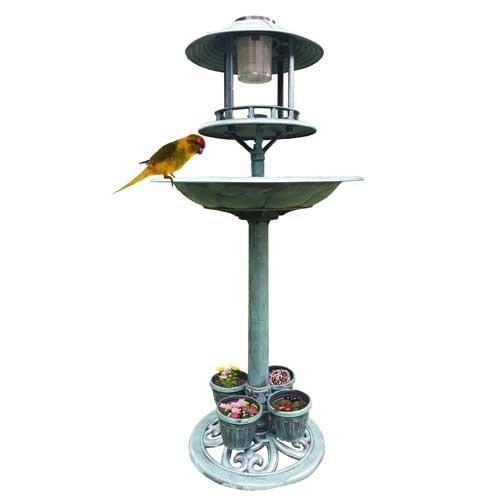 Mauk Vogelbad Futterstation Vogeltränke mit LED Solarlampe