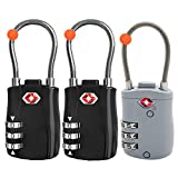RST-075 TSA Approved 3 Digit Combination Lock with Steel Cable,Security Padlock,Set Your Own Combination for Travel,Luggage,Suitcase,Backpack,3 Pack.2 Black &1 Gray