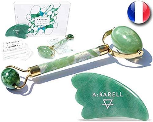 A:KARELL Jade Roller For Face & Gua Sha SET 100% Real Chi Himalayan Jade Anti Aging Skincare Therapy Tool Jade Facial...