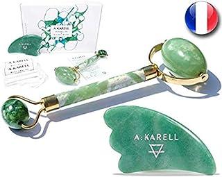 A:KARELL Jade Roller For Face & Gua Sha SET 100% Real Chi Himalayan Jade Anti Aging Skincare Therapy Tool Jade Facial Roll...