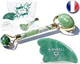 A:KARELL Jade Roller For Face & Gua Sha SET 100% Real Chi Himalayan
