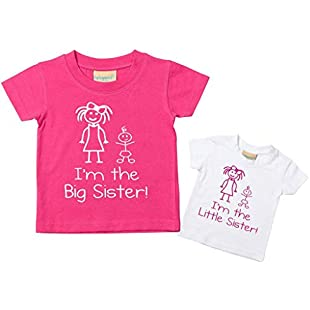 I'm The Little Sister I'm The Big Sister Tshirt Set Baby Toddler Kids Available in Sizes 0-6 Months New Baby Sister Gift:Tudosobrediabetes