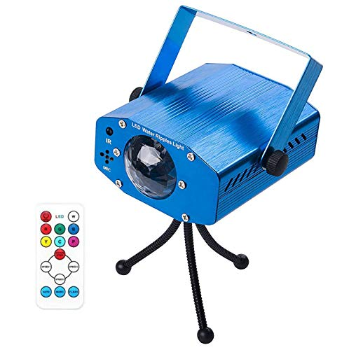Leaden Party Laser Lights, 7 Colors Led Stage Party Light Projector, Strobe Water Ripples Lighting for Parties Room Show Birthday Party Wedding Dance Lighting with Remote Control(Blue)
