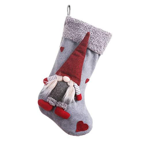 Blanche, calza natalizia, con figurina di gnomo 3D senza volto, decorazione per le Feste, per camino...