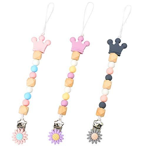 3 Packs Leuke Dummy Clips voor Baby Fopspeen Clips Chain Fopspeen Clips Houder Dummy Holder voor Tandjes Baby