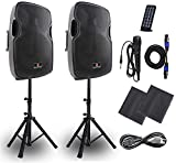 Powered PA Speakers,2-Way 15 Inch Pair Bulit in Bluetooth USB SD Card Line-In and FM Radio,Portable DJ speakers system with Wired Microphone, Remote Control, and Standing Tripods