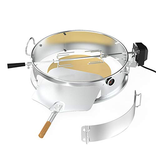 only fire Multi-Purpose Stainless Steel Rotisserie Kit with Pizza Ring for 22 1/2' Kettle Grills-Includes Pizza Peel and Pizza Stone
