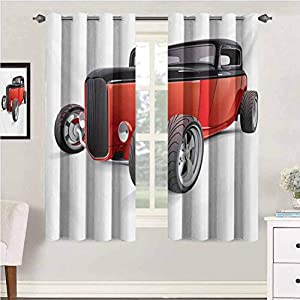 Cars Room Darkening Curtain Nostalgia Red Hot Rod American Culture Retro Revival Classics Collectors Car Window Curtain Panel for Bedroom 72″ x 45″ Red Black White