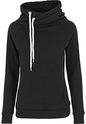 Urban Classics Damen Pullover Pullover Raglan High Neck Hoody schwarz (Schwarz) X-Small
