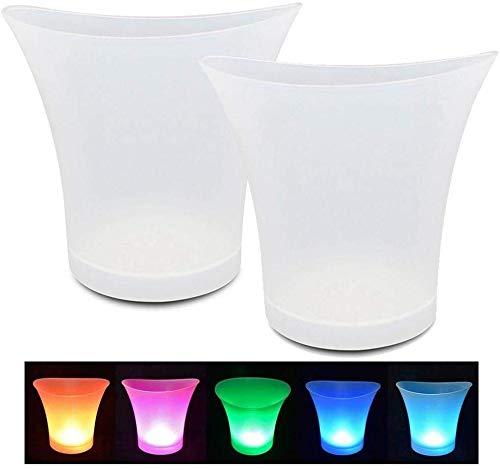 WHOHO 2 Cubos de Hielo LED a Prueba de Agua, Enfriador de Vino de Gran Capacidad de 5L, Cubo de Cerveza con Bebida de champán, Usado para Fiestas, hogares, Bares.