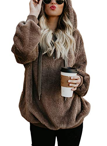 BLENCOT Womens Coffee Autumn Hoodies Casual Solid Thick Cozy Fleece Warm Fuzzy Sweatshirt Hooded Pullover Outwear Tops Fashion (US8-10)Medium