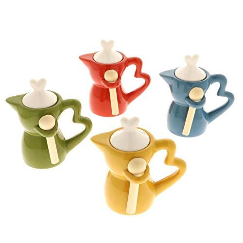 8 PZ COFFEE MOKA Zuccheriera porcellana colorata manico cuore BOMBONIERA