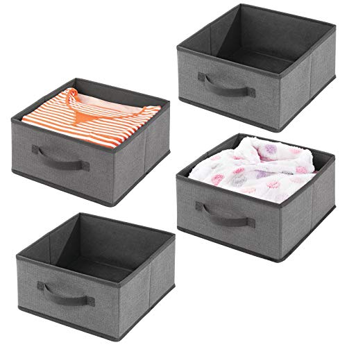 mDesign Soft Fabric Modular Closet Organizer Boxes with Front Pull Handles for Closet Bedroom Bathroom Home Office Shelves to Hold Clothing Bedding Accessories 4 Pack - Charcoal Gray