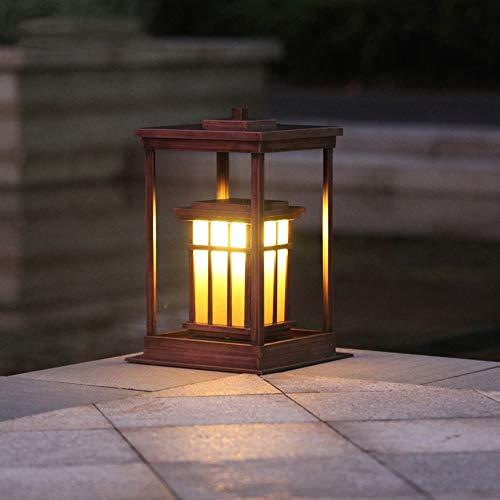 Ailtb Vintage Place Aluminium Métal Extérieur Pilier Postal étanche Lampe Chinoise Villa Jardin Colonne Lumineuse en Verre Lanterne E27 Externe Patio Pont Clôture Table d'éclairage paysager
