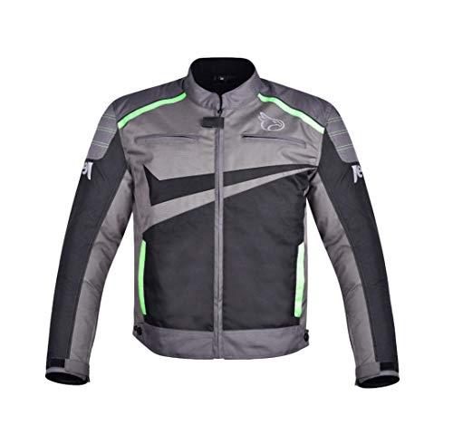 JET Chaqueta Moto Ciclomotor Hombre Textil Ventilación con Protecciones Ligero Basic ESSENTIALS (M, Gris / Verde)