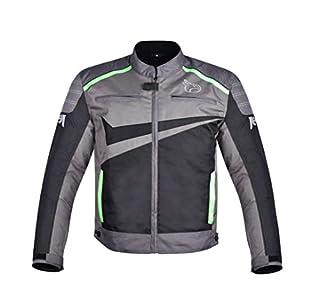 JET Chaqueta Moto Ciclomotor Hombre Textil Ventilación con Protecciones Ligero Basic ESSENTIALS (XL, Gris/Verde)