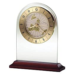 Howard Miller World Time Arch Table Clock 645-603 – Satin Rosewood and Beveled Glass Decor Home with Quartz, Alarm Movement