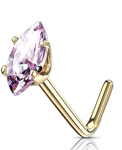 Hermosas lágrimas de cristal rosa de oro macizo para nariz en forma de L y otros colores disponibles en nuestra tienda de Pegasus Body Jewellery Amazon.