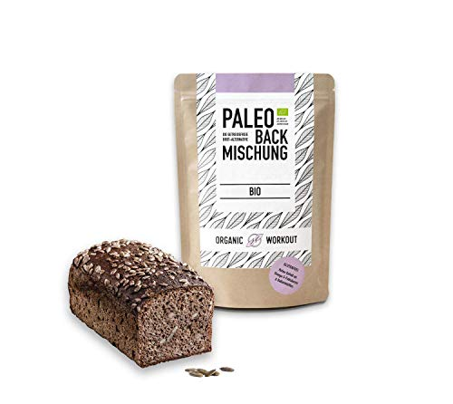 Organic Workout PALEO-BACKMISCHUNG – Bio, gluten-frei, lower-Carb, Eiweiss-Brot-Alternative, Fitness-Brot-Alternative, clean-eating, hefefrei, ohne Getreide, hergestellt in Deutschland