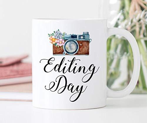 N\A Taza de café | Día de edición | Regalo para fotógrafos | Taza de la cámara | Regalo de fotógrafo de Bodas | Taza de edición de Fotos | Taza del día de edición