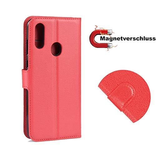 betterfon | ZTE Blade V10 Hülle Handy Tasche Handyhülle Etui Wallet Hülle Schutzhülle mit Magnetverschluss/Kartenfächer für ZTE Blade V10 Rot