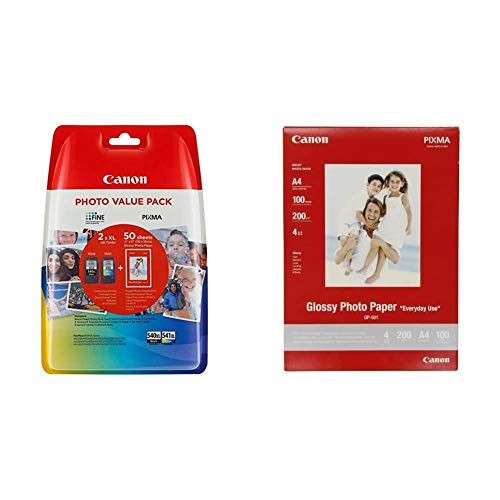 Canon PG-540XL+CL-541XL Cartucho de Tinta Original BK XL+Tricolor XL para Impresora de Inyeccion de Tinta Pixma + GP-501, Papel Fotográfico A4 con Brillo (100 Hojas, 200g/m2)