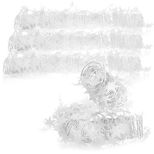 com-four® 4X Deko-Spirale mit Sternen - Stern-Girlande spiralförmig für Weihnachten - Weihnachtsgirlande für Christbaumschmuck - je 7,5 m (weiß - 4 Stück)
