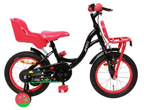 AMIGO Spring - Kinderfahrrad für Mädchen - 14 Zoll - mit Handbremse, Rücktritt, Gepäckträger Vorne, Puppensitz und Stützräder - ab 3-4 Jahre - Schwarz