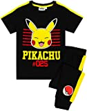 Pokémon Pikachu Pyjamas Kids Short Sleeve T-Shirt & Bottoms PJ's Set Black