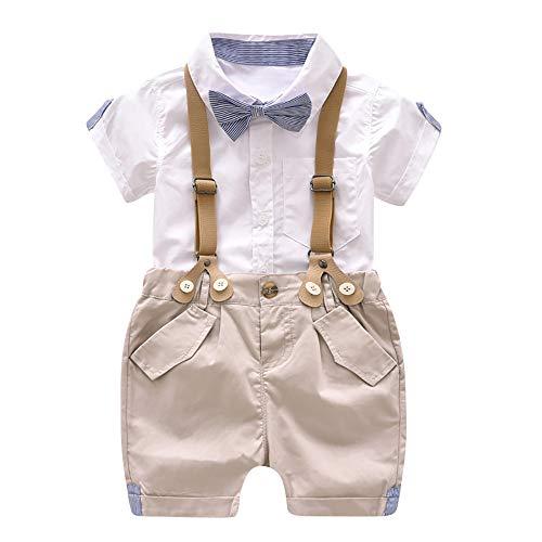 Xmiral Kinder Baby Jungen Bowtie Kurzarm Shirt + Hosenträger Shorts Gentleman Oufits Set Einreiher Shirt Schnalle Shorts Kleidung Set(Weiß,3 Jahre)