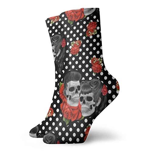 Colin-Design Rockabilly Skulls Personalisierte Socken Sport Athletic Strümpfe 30,5 cm Crew Socken für Männer Frauen