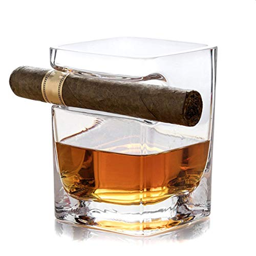 Otartu Cigar Whiskey Glass Cup - Old Fashioned Whiskey Glass With Indented Cigar Rest/Holder, Premium Gift