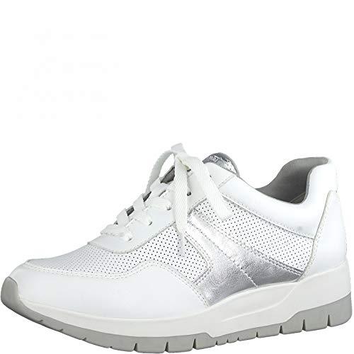 Tamaris Damen Low-Top Sneaker, Frauen Halbschuhe,lose Einlage,schnürer,Halbschuhe,straßenschuhe,Freizeitschuhe,weiblich,White/Silver,40 EU / 6.5 UK