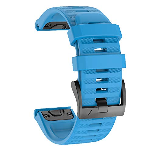 Ishim Correa de Reloj, Reemplazo de Silicona Suave de 22mm de Ancho, Pulsera para Garmin Fenix 5/5 Plus, Fenix 6/6 Pro, Forerunner 935/945, Approach S60, Quatix 5, Ajuste Rápido-Azul