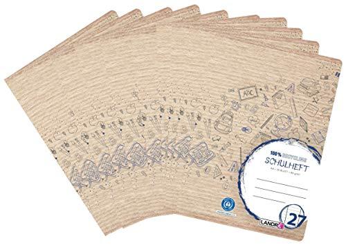 Landre Schulheft A4 Recycling, 16 Blatt, liniert mit Rand, Lineatur 27, 10er Pack
