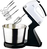 BIGXEN Electric Egg Beater Stand Mixer/High Speed Stand Mixer Whipping Cream Beater for Kitchen Baking/Hand and Stand Grinders with 2 Beaters & 2 Dough Hooks and Stainless Steel Mixing Bowl