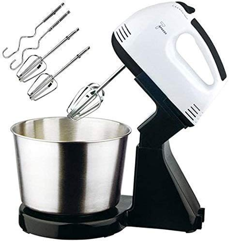 Unicron 7 Speeds Electric Stand Mixer 2 in 1 Hand Mixer with Stainless Steel Mixing Bowl and 2 Beaters & 2 Dough Hooks - Kitchen Food Stand Mixer Cream Egg Whisk Blender Cake Dough Mixer